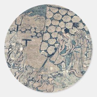 Act3 Kanadehon Chushingura por Katsushika, Hokusai Etiquetas Redondas