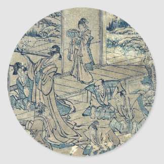 Act4 Kanadehon Chushingura por Katsushika, Hokusai Pegatinas Redondas