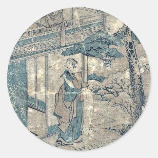 Act7 Kanadehon Chushingura por Katsushika, Hokusai Etiquetas Redondas