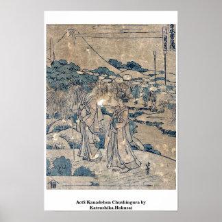 Act8 Kanadehon Chushingura por Katsushika.Hokusai Poster