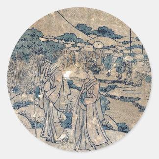 Act8 Kanadehon Chushingura por Katsushika.Hokusai Pegatina Redonda