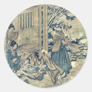 Act9 Kanadehon Chushingura por Katsushika, Hokusai Etiqueta Redonda
