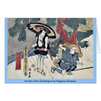 Act five of the Chushingura by Utagawa Kuniyasu Greeting Cards