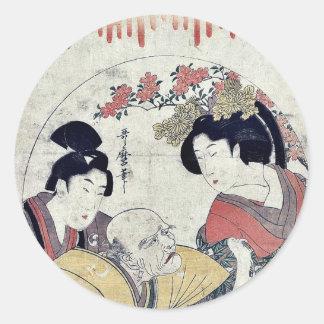 Act four of the Chushingura by Kitagawa, Utamaro Classic Round Sticker