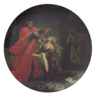 Act I, scene 3: Desdemona kneeling at her father's Melamine Plate