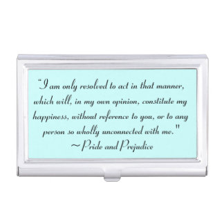 Act in Manner to Constitute Happiness Jane Austen Business Card Case