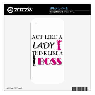 Act Like A Lady Think Like A BOSS Skins For The iPhone 4