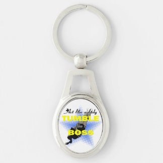 Act like a lady tumbling Silver-Colored oval metal keychain