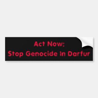 Act Now:Stop Genocide In Darfur Bumper Sticker