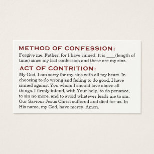 Roman catholic business cards templates zazzle act of contrition and review of life cards colourmoves