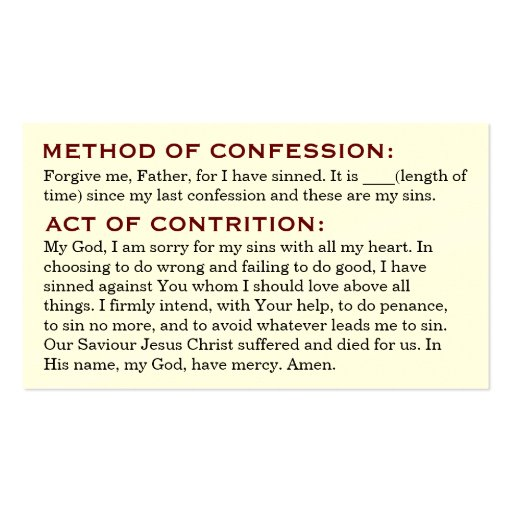 Act Of Contrition And Review Life Cards Double Sided Standard