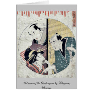 Act seven of the Chushingura by Kitagawa Utamaro Greeting Card