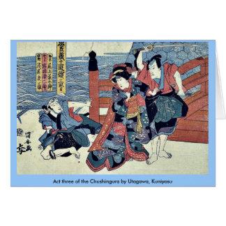 Act three of the Chushingura by Utagawa Kuniyasu Greeting Card