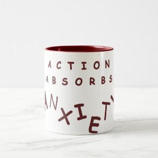 Action Absorbs Anxiety Two-Tone Coffee Mug