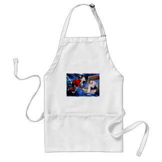 Action at the Hockey Net Adult Apron