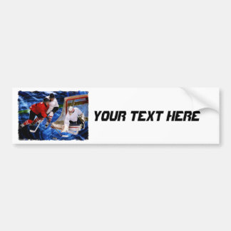 Action at the Hockey Net Bumper Sticker