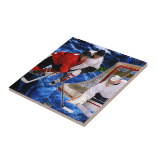 Action at the Hockey Net Ceramic Tile