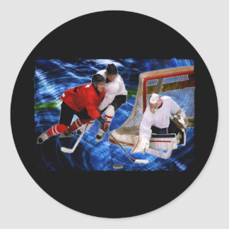 Action at the Hockey Net Classic Round Sticker