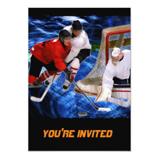 Action at the Hockey Net 5x7 Paper Invitation Card