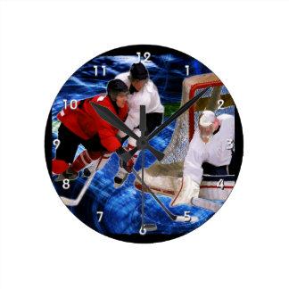 Action at the Hockey Net Round Clock