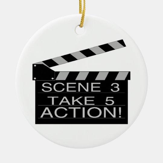Action Directors Clapboard Ceramic Ornament