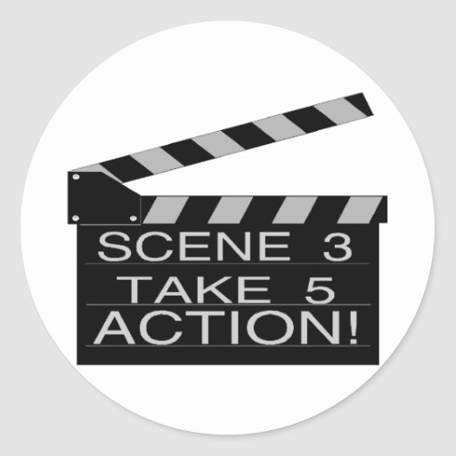 Action Directors Clapboard Classic Round Sticker
