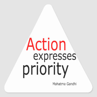 Action expresses priority triangle sticker