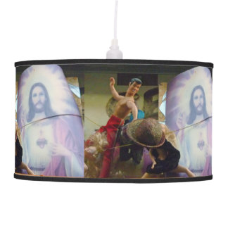 Action Figure and Jesus Hanging Lamp
