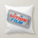 Action Film Movie Ticket Pillow — Square