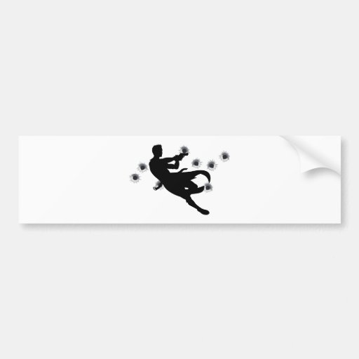 Action hero in gun fight silhouette car bumper sticker