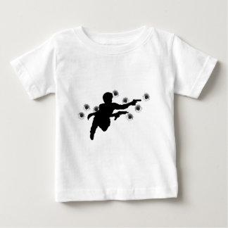 Action hero in gun fight silhouette tee shirts