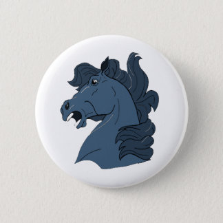 Action Horse Head and Mane Pinback Button