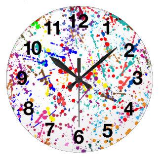 Action Painting Splatter Art Large Clock