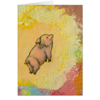 Action pig is flying - fun painting art CUSTOMIZED Greeting Card