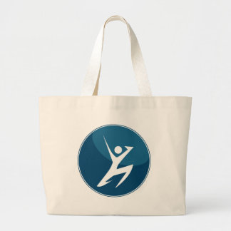 Action Pose Stick Figure Jumping Blue Button Large Tote Bag