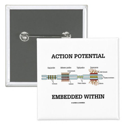 Action Potential Embedded Within (Cell Junctions) 2 Inch Square Button