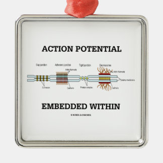 Action Potential Embedded Within (Cell Junctions) Square Metal Christmas Ornament