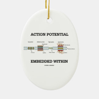 Action Potential Embedded Within (Cell Junctions) Double-Sided Oval Ceramic Christmas Ornament