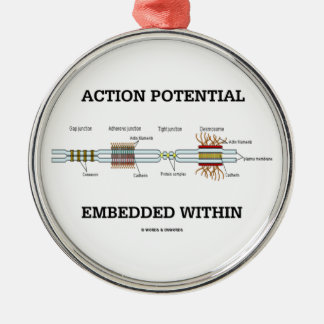 Action Potential Embedded Within (Cell Junctions) Round Metal Christmas Ornament