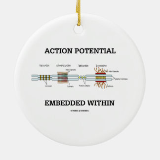 Action Potential Embedded Within (Cell Junctions) Double-Sided Ceramic Round Christmas Ornament