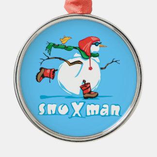 Action Snowman Metal Ornament