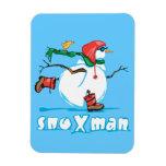 Action Snowman Rectangular Magnet