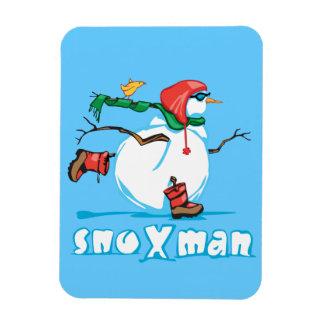 Action Snowman Rectangular Photo Magnet