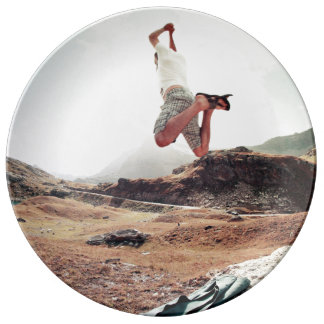 Action Themed, A Man Captured In Mid-Air While Jum Porcelain Plate
