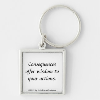 Actions and consequences Silver-Colored square keychain