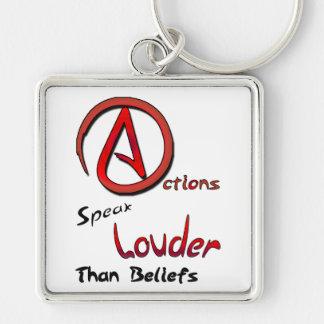 Actions Speak Louder than Beliefs Atheist Symbol Key Chains