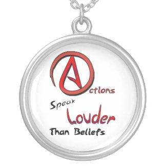 Actions Speak Louder than Beliefs, Atheist Symbol Necklaces