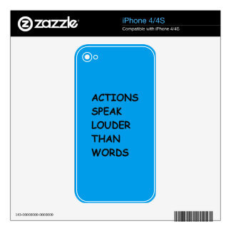 ACTIONS SPEAK LOUDER THAN WORDS TRUTH COMMENTS MOT SKIN FOR iPhone 4S