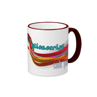 ActionScript- Red Orange Gray Smooth wave Coffee Mugs