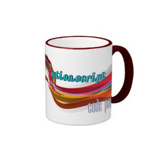 ActionScript- Red Orange Gray Smooth wave Ringer Mug